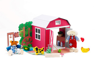 Paper doll barn house western style with farmer and there pets