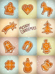 christmas background with gingerbread