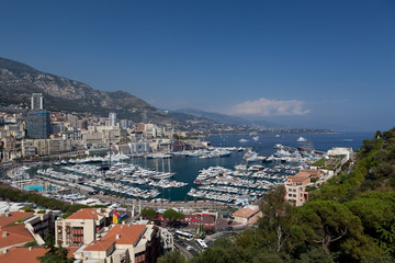 Monaco bay view with wonderful yachts and boats