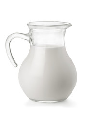 Glass jug of fresh milk