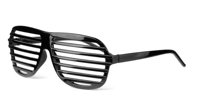 Black plastic shutter shades slatted sunglasses