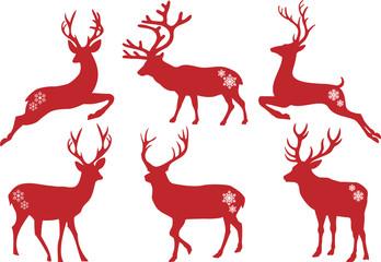 Christmas deer stags, vector set