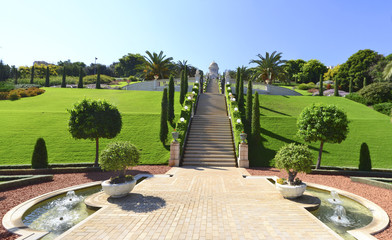 Panorama photo of Baha'i Gardens in Haifa, Israel