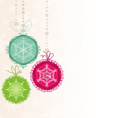 Christmas ornaments, pink, blue, green 1