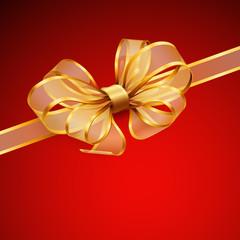 Wall Mural - Christmas card - Golden transparent bow