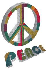 Colorful Peace Symbol on White Background Illustration