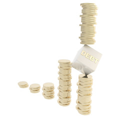 Debt risk conception as coin piles isolated