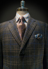 Checkered Jacket with Striped Shirt and Tie (Vertical)