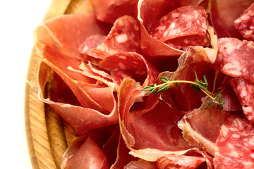 Board with salami and jamon