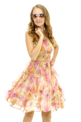 Beautiful slim sexy happy young girl in stylish dress