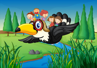 Canvas Prints River, lake a river, a bird and kids