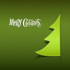 Merry Christmas ribbon paper green tree design