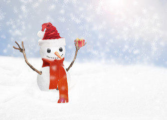 Christmas snow man with gift