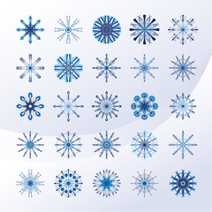 Set of sky blue snowflakes
