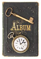 vintage poetry album with ild key and clock