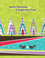 background with christmas trees, vector