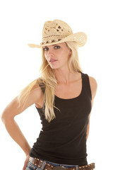 Woman black tank straw mouth