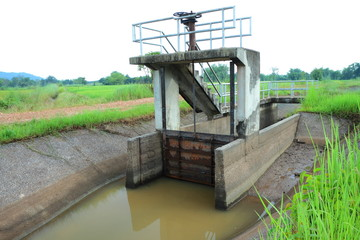 Floodgate and irrigation canals for agriculture.