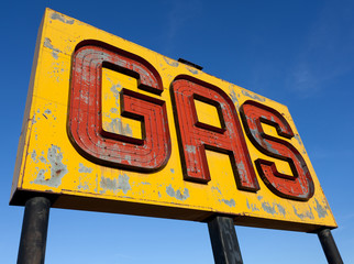 An antique, vintage gas sign on route 66