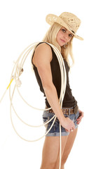 Cowgirl rope over shoulder