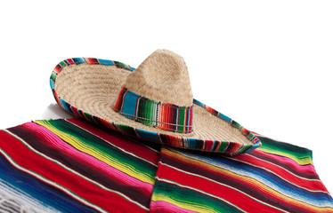Serape and sombrero on a white background