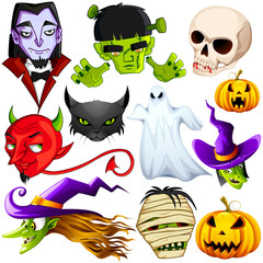 vector illustrations of collection of halloween character