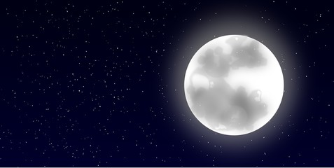 Picture of full moon over the starry night