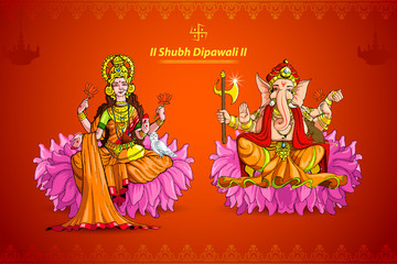 vector illustration of Goddess Lakshmi and Lord Ganesha