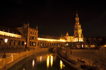 Fototapete - Plaza de Espana at night, Sevilla