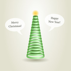 Christmas tree with green ribbons and speech bubbles, vector