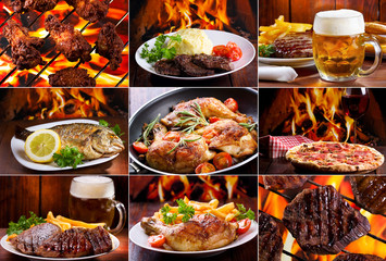 collage of various meat products
