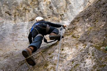 Foto op Aluminium Alpinisme Bergsteiger in den Dolomiten - Alpen