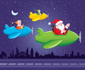 Poster Airplanes, balloon Santa and Elves in Aeroplane