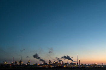 Panoramic sunset view of a large industry area