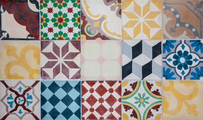 Colorful set of Portuguese ornamental tiles