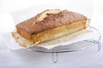 frisch gebackener Madeira Kuchen auf Backpapier