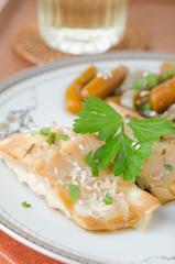 cod in beer marinade with vegetables
