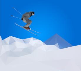 flying skier on mountains , vector illustration