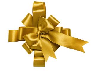 award gold bow made of ribbon