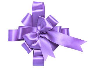 award purple bow made of ribbon