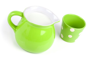 green jug with milk