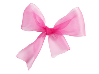 Festive pink bow made of ribbon