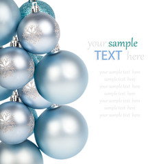 Christmas balls / ornaments, on a white background with copy spa