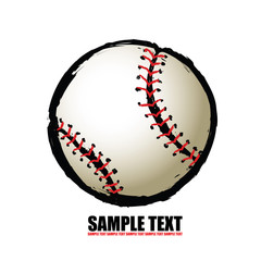 Baseball ball - free hand isolated vector illustration