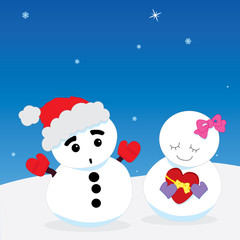 Snow man couple