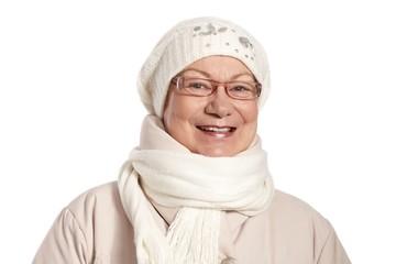 Winter portrait of smiling mature woman
