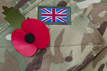 Poppy on a british army uniform