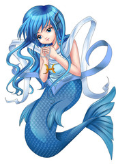 Wall Murals Mermaid Manga style illustration of zodiac symbol, Pisces