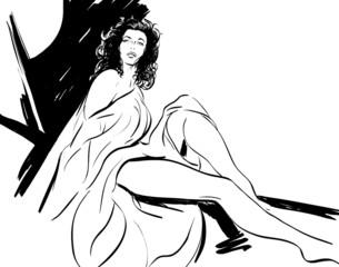 croquis noir et blanc femme sexy dans la nuit