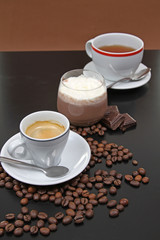 coffe,tea and choco cream